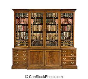 boekenkast, oud, antieke , engelse , met, boekjes