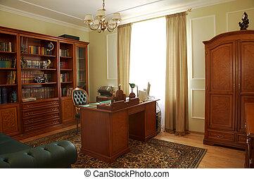 boekenkast, tafel, en, stoel