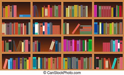 boekenkast, vector, illustratie