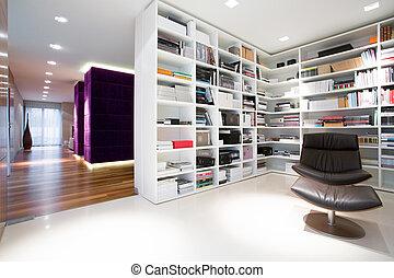 boekenkast, volle, van, boekjes
