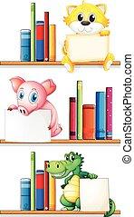 boekenplank, boekjes , dieren