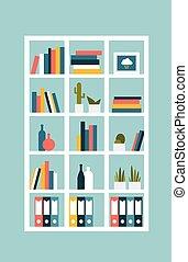 boekenplank, case., plat, ontwerp