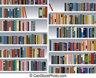 boekenplank, illustratie, moderne, vector