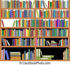 boekenplank, met, boekjes