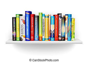 boekenplank, met, kleur, hardcover, cbooks