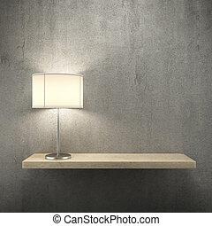 boekenplank, op, de muur, met, lamp