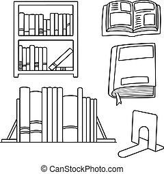 boekenplank, vector, set