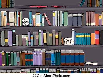 boekenplank, vreemd, bibliotheek