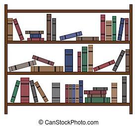 boekenplank, werkende, boekjes