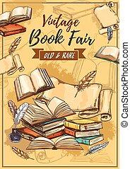 boekhandel, fair, boekjes , zeldzaamheid, schets, ouderwetse