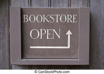 boekhandel, open teken