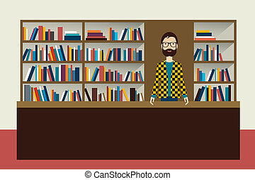 boekhandelaar, plat, boekhandel, illustration., man.