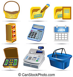 boekhouding, 2, set, iconen