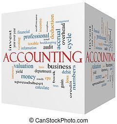 boekhouding, 3d, kubus, woord, wolk, concept