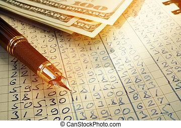 boekhouding, boek, voor, het berekenen, kosten, en, geld., het in de begroting opnemen, concept.