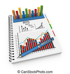 boekhouding, concept, aantekenboekje