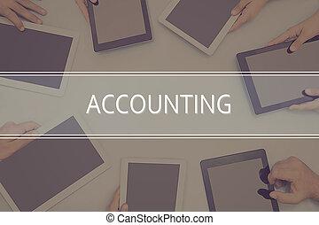 boekhouding, concept., concept, zakelijk