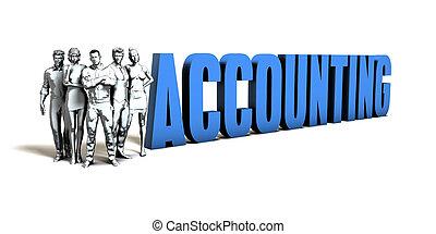 boekhouding, concept, zakelijk