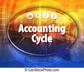 boekhouding, cyclus, zakelijk, termijn, tekstballonetje, illustratie