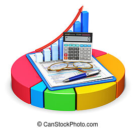 boekhouding, en, statistiek, concept