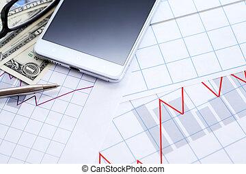 boekhouding, gereedschap, achtergrond