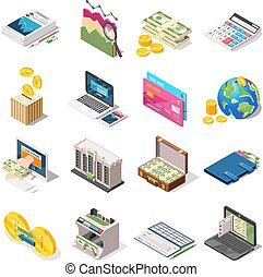 boekhouding, isometric, set, iconen