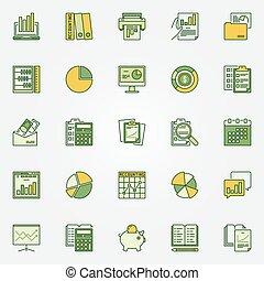 boekhouding, kleurrijke, iconen