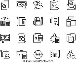 boekhouding, lijn, iconen