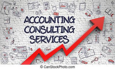 boekhouding, raadgevend, diensten, getrokken, op wit, brickwall.