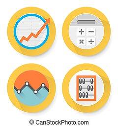 boekhouding, set, plat, iconen