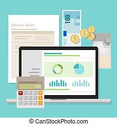 boekhouding, software, balans, geld, rekenmachine,...