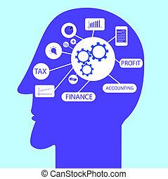 boekhouding, symbool, hoofd