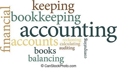 boekhouding, wolken, woord