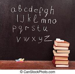 boekjes , alfabet, chalkboard
