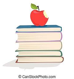 boekjes , appel, rood, stapel