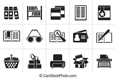 boekjes , black , bibliotheek, iconen