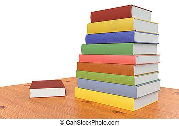 boekjes , diagonaal, stapel, houten, boekenplank, tafel, of, kleur, aanzicht