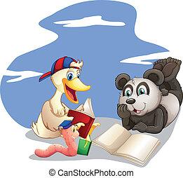boekjes , dieren, lezende