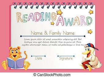 boekjes , dieren, mal, toewijzen, lezende
