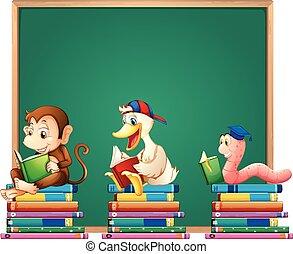 boekjes , dieren, plank, mal, lezende