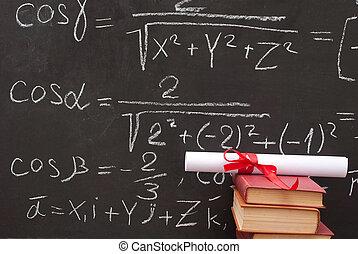 boekjes , diploma, chalkboard