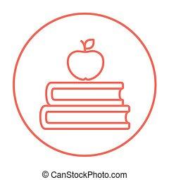 boekjes , en, appel, op bovenkant, lijn, icon.