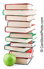 boekjes , groene, stapel, appel