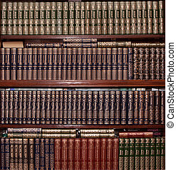 boekjes , in, goud, dekking, in, bibliotheek