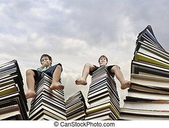 boekjes , kinderen, zittende