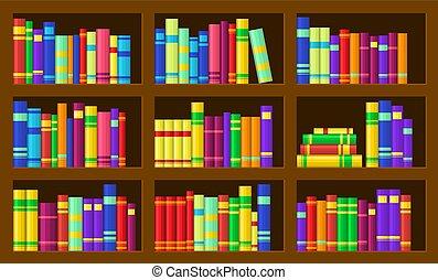boekjes , kleurrijke, planken