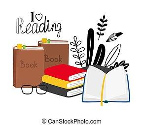boekjes , lezende , concept, bril