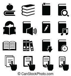 boekjes , literatuur, en, lezende , iconen