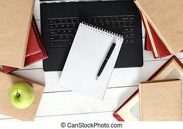 boekjes , met, draagbare computer