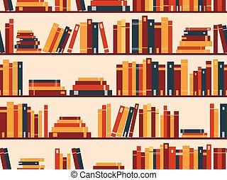 boekjes , model, seamless, illustratie, vector, bibliotheek, bookshelf.
